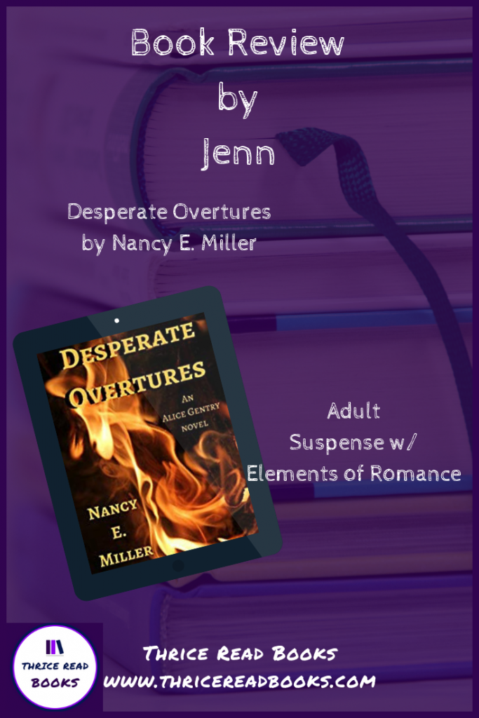 Thrice Read Books reviews Nancy E. Miller's suspense (with romance) novel, DESPERATE OVERTURES.
